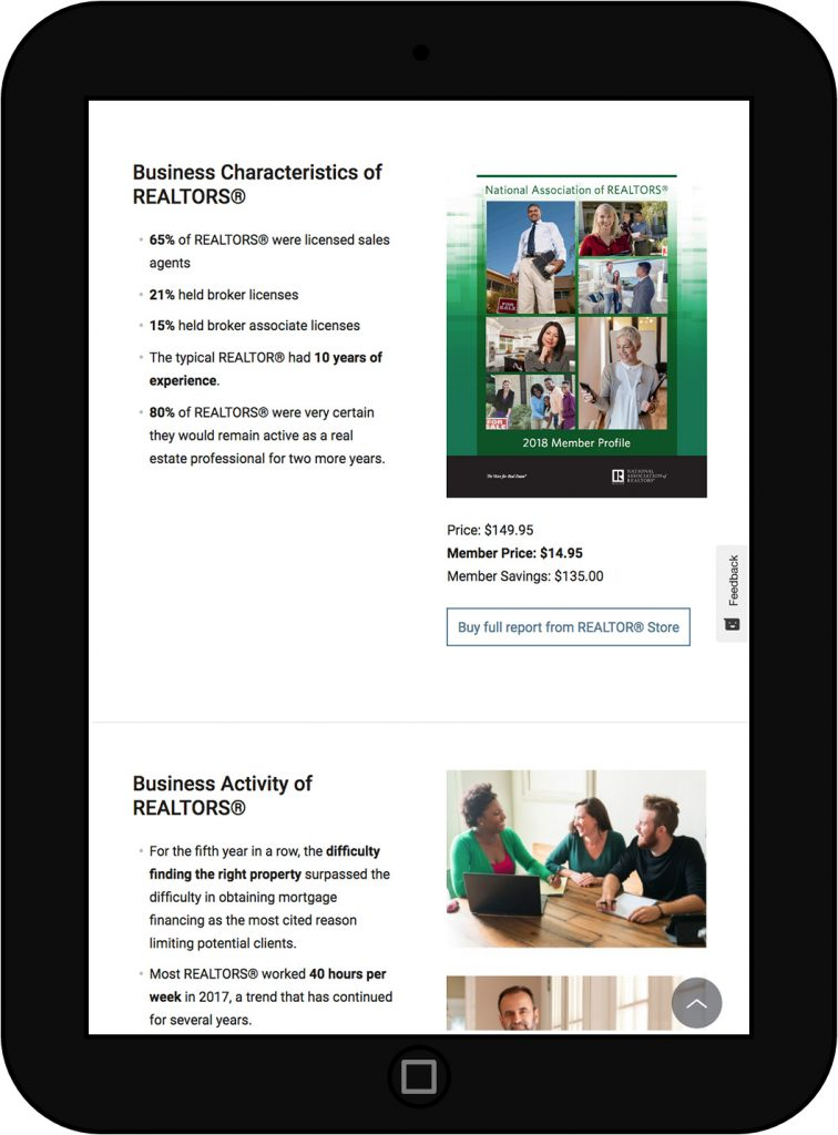 NAR Member Profile Report - Tablet View